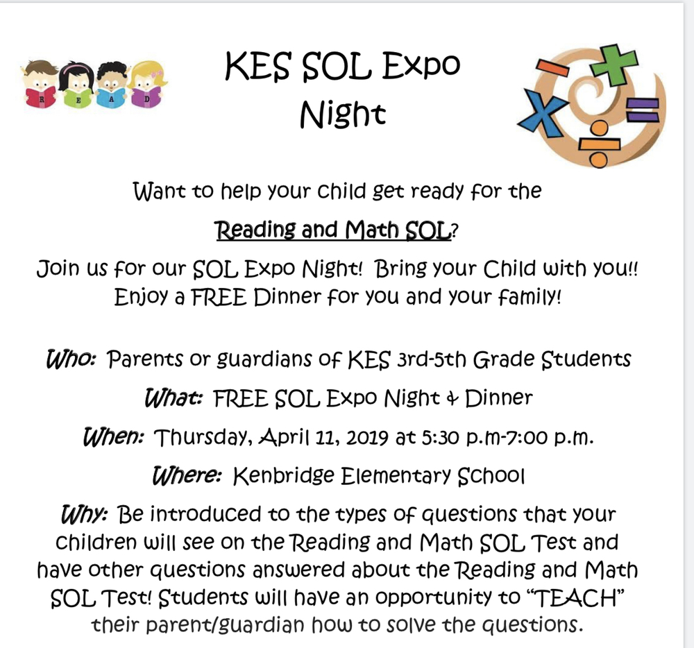 3rd-5th Grade KES Parents are Invited to Our SOL Expo