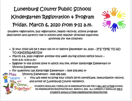 Kindergarten Registration Program to be Held at Both Elementary Schools March 6