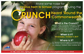 Virginia Farm to School Week October 7-11, 2019; The Crunch Heard 'Round the Commonwealth on Wednesday, October 9!