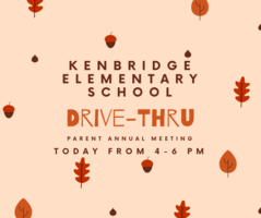 Kenbridge Elementary Drive Thru Parent Annual Meeting  - Wednesday, October 28 from 4-6 PM