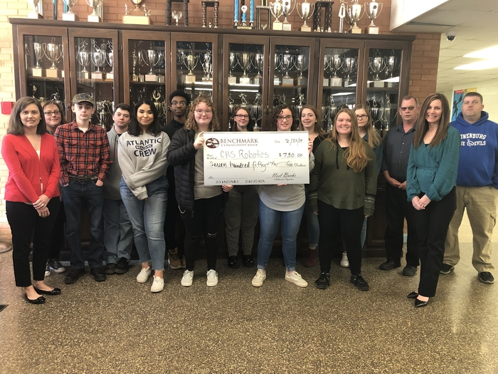 CHS Robotics team accepts donation from Benchmark Bank