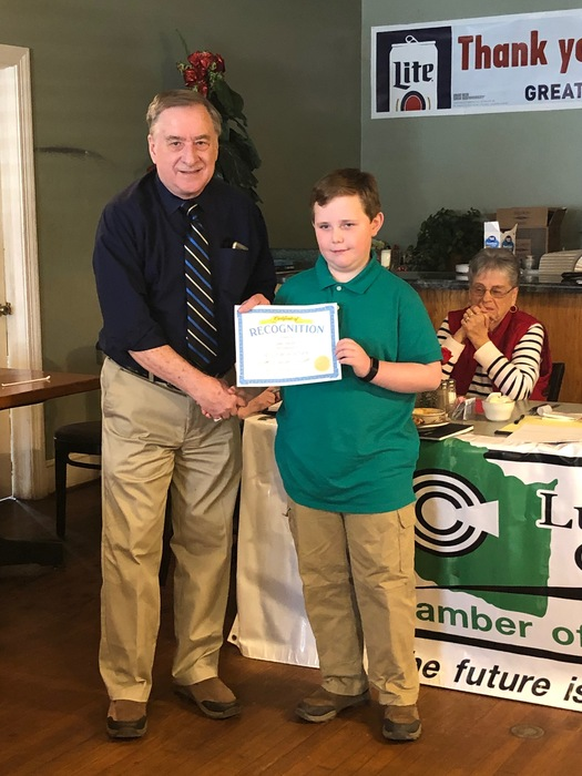 VES Student of the Quarter with Lunenburg Chamber President
