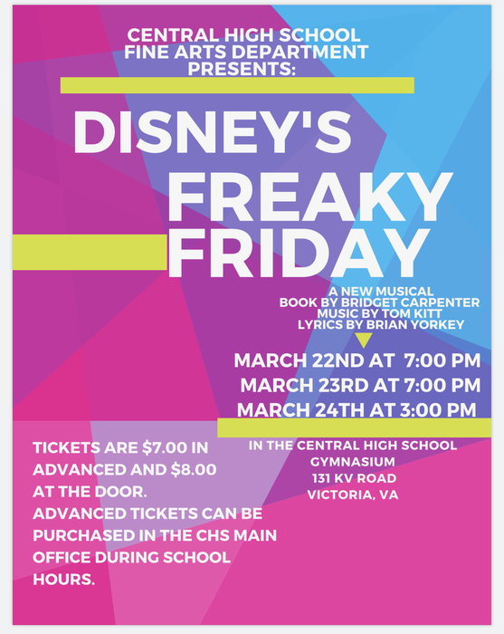 CHS Presents Disney's Freaky Friday March 22-24, 2019