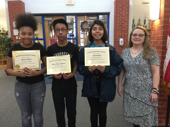 Essay Contest Winners and Mrs. Wade