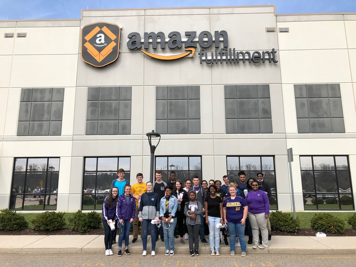 DECA & FBLA Clubs in front of Amazon Building